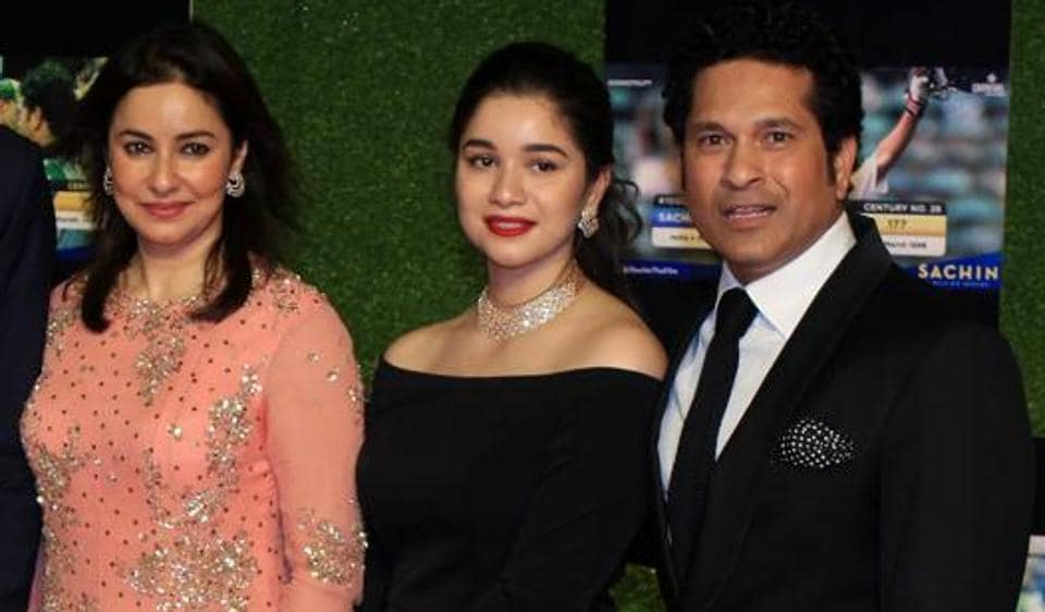 Sara Tendulkar (centre) with her parents.