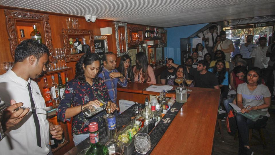 A cocktail masterclass being conducted at Woodside Inn on Thursday.