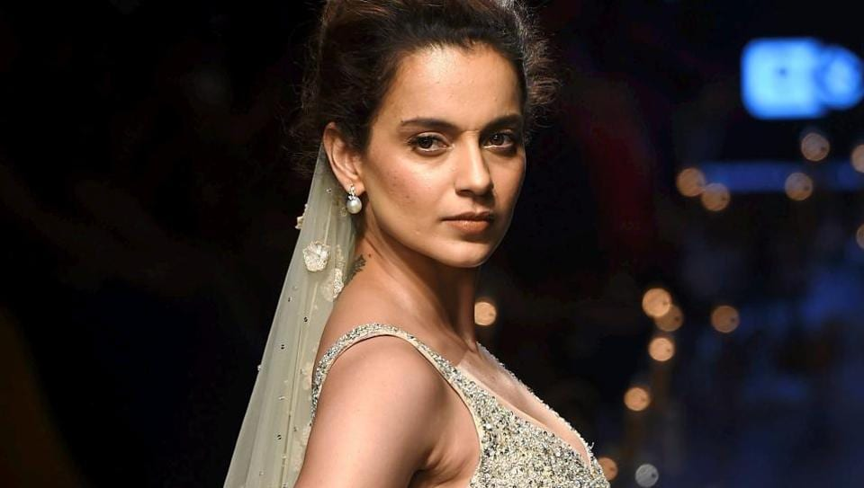 Bollywood actor Kangana Ranaut walks the ramp displaying the collection of designer Ridhi Mehra at Lakme Fashion Week Summer Resort 2018.