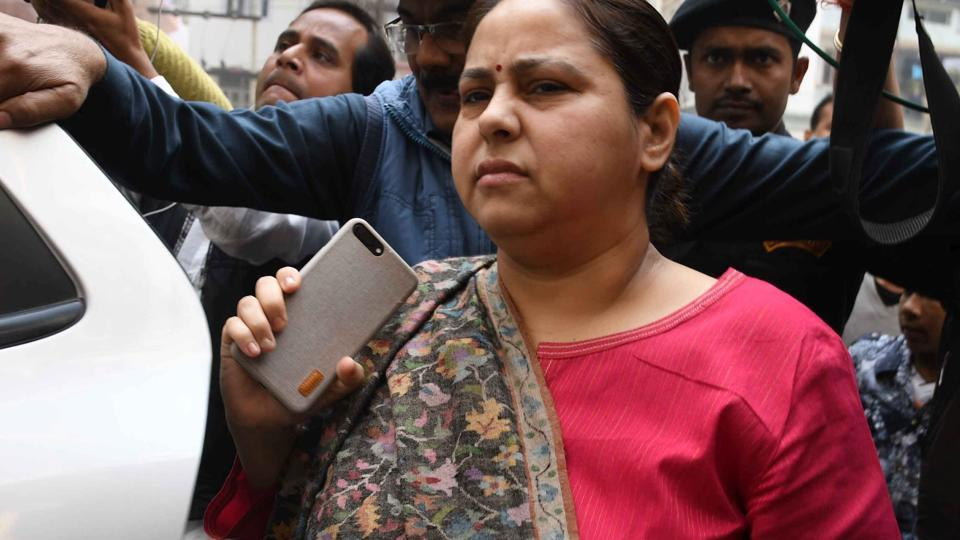 RJD leader Misa Bharti at the ED zonal office in Patna.
