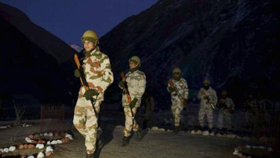 Jawans of Indo-Tibetan Border Police (ITBP) leave for patrol at the Nelong border outpost in Uttarkashi district of Uttarakhand .