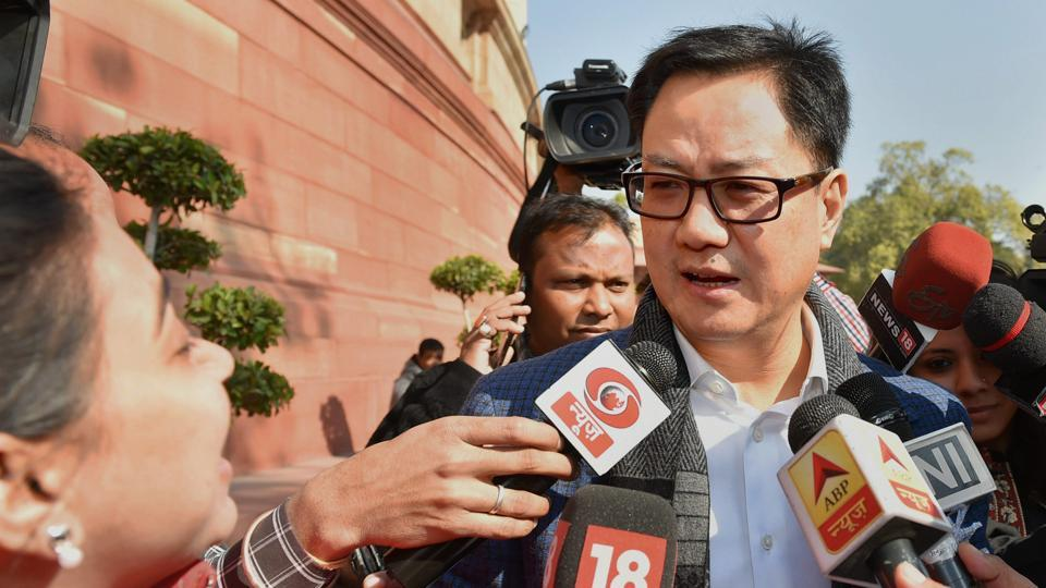 Kiren Rijiju speaks to media during the ongoing budget-session in New Delhi on Wednesday.