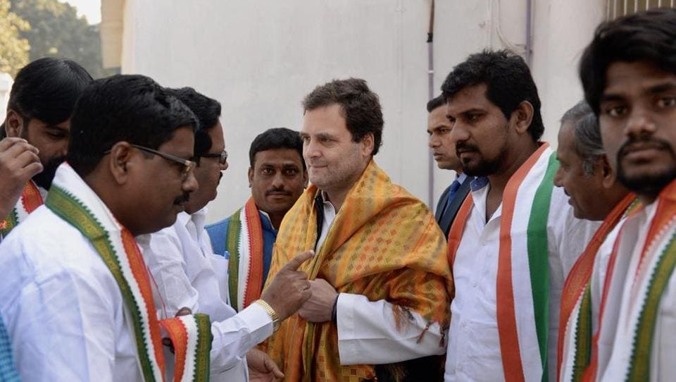 Congress president Rahul Gandhi meets party workers at AICC headquarters in New Delhi,