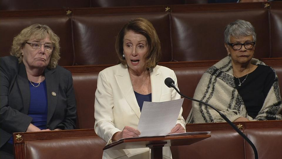 US House minority leader Nancy Pelosi (centre) speaking on the floor of the House of Representatives in this still grab taken from video on Capitol Hill in Washington, US, on February 7, 2018.