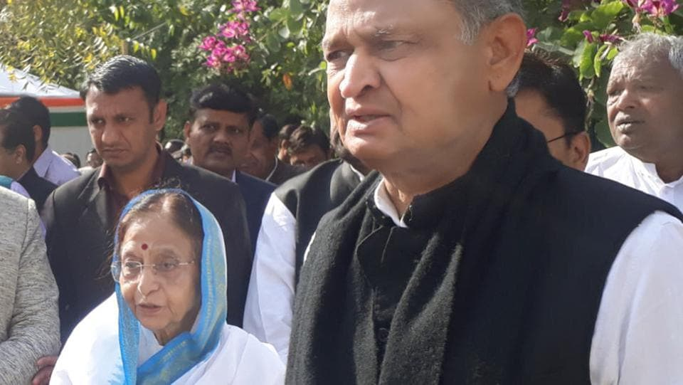 Former President Pratibha Patil with former Rajasthan chief minister Ashok Gehlot in Jaipur on Thursday.