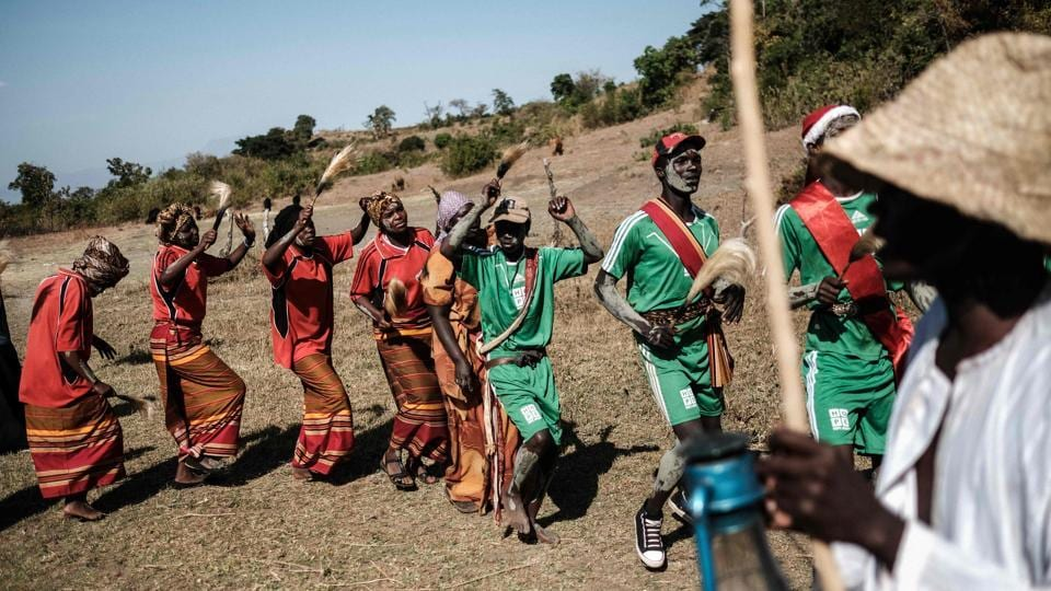 People from the Pokot tribe recreate a circumcision ceremony at their initiation site in Chelel village. 78-year-old healer Jeremia Labur participated in the ceremony seeking forgiveness for performing FGM and child marriage. Fighting tradition with tradition, Pokot spiritual healers and elders have been enlisted to wipe out the practice. (Yasuyoshi Chiba / AFP)