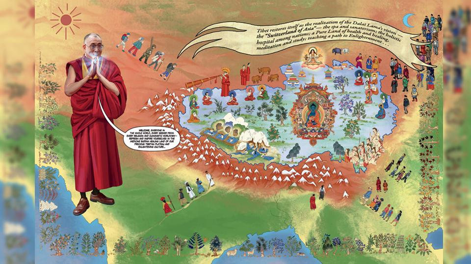 An illustration from the graphic bio-novel on the Dalai Lama.