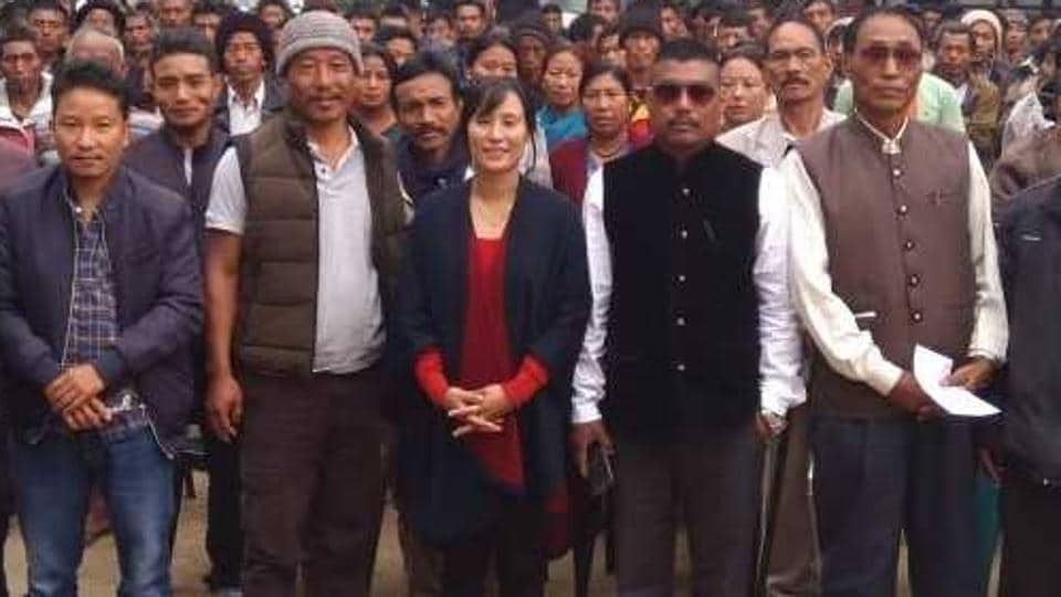Awan Konyak (centre), the Nationalist Democratic Progressive Party's candidate from Aboi, with her supporters.