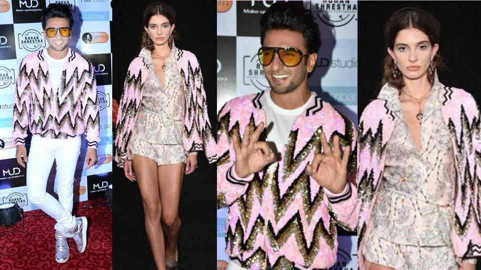 It's hard to miss Ranveer Singh in his baby pink, gold and black sequined bomber jacket from designer Manish Arora's spring 2018 ready-to-wear women's collection.