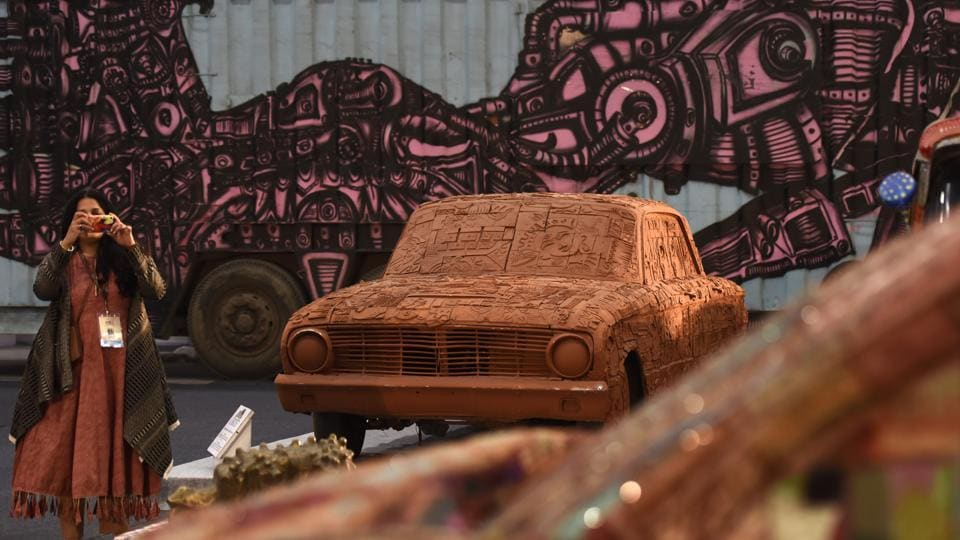A display of artwork by 'cartists' during Auto Expo 2018 in Greater Noida on February 7, 2018. (Burhaan Kinu / HT Photo)