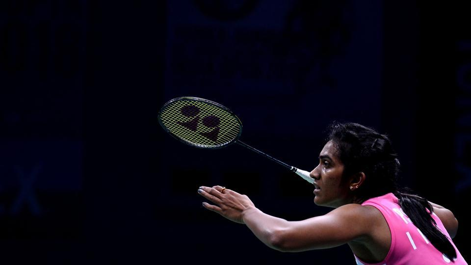 P.V. Sindhu plays a return against US badminton player Beiwen Zhang during the women's singles final badminton match at the Yonex-Sunrise India Open 2018 in New Delhi on February 4, 2018. (Sajjad Hussain / AFP)