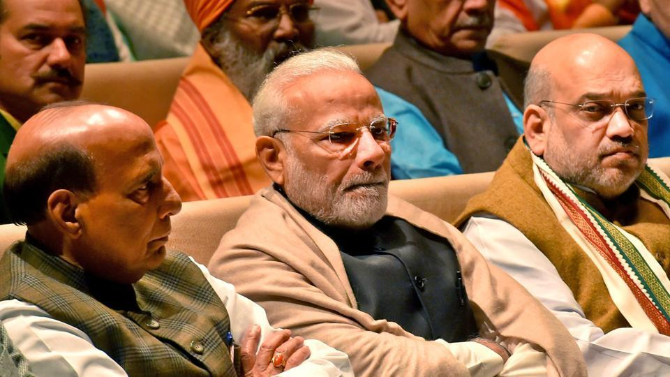 Prime Minister Narendra Modi with BJP president Amit Shah and home minister Rajnath Singh at the BJP parliamentary party meeting, during the Budget session 2018-19 of Parliament in New Delhi on Friday.