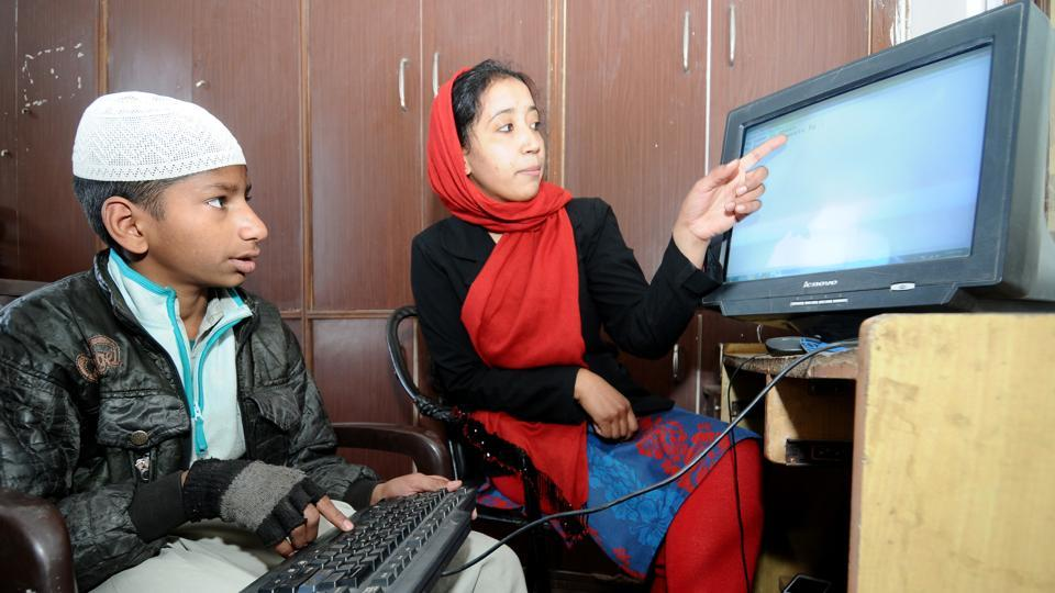 Madrasas also offer computer lessons to students.  (Ravi Kumar/HT)