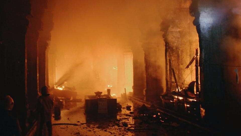 A major fire broke out inside the East Tower of the Meenakshi Amman Temple in Madurai on February 3.