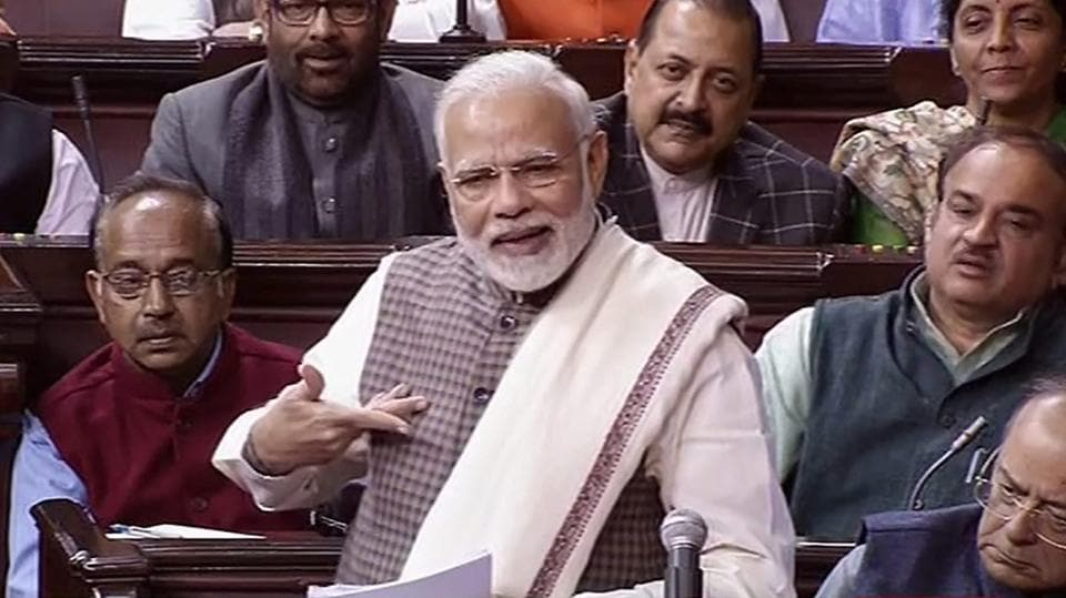 Prime Minister Narendra Modi speaks in the Rajya Sabha, at the Parliament in New Delhi on Wednesday.