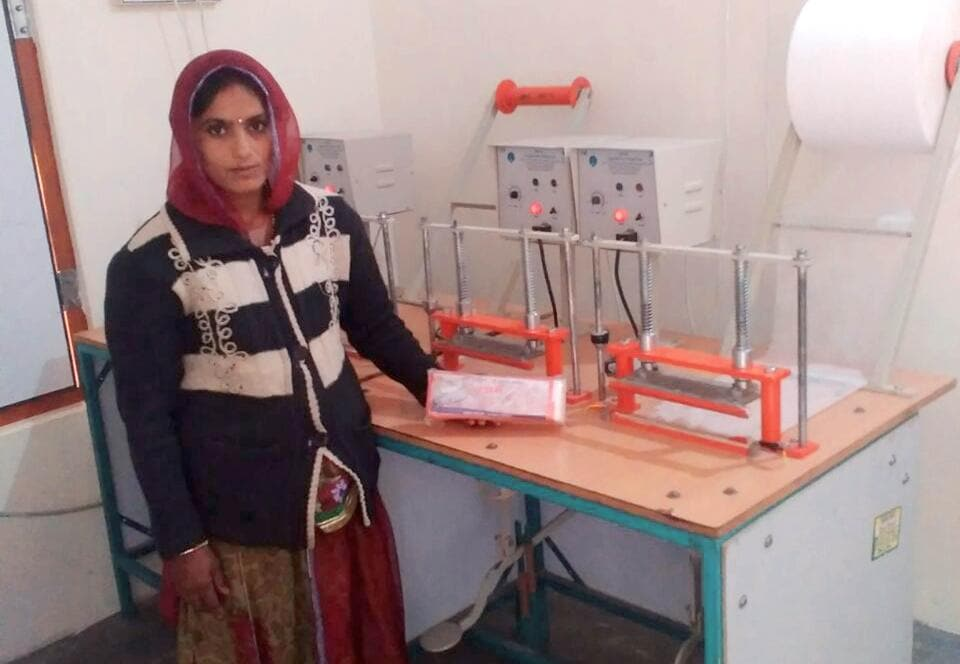Rajjo Devi , a 27-year-old woman from Kau Ka Kheda village in western Rajasthan's Barmer district, with sanitary pads under the brand name 'Resham'. She and other women of her group spread the message of 'PadMan'.