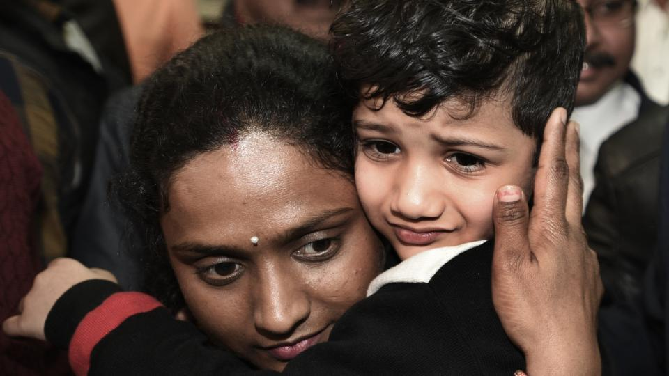 Vihaan Gupta, a five-year-old boy, is reunited with his mother in Delhi at Delhi Police Headquarters on February 6, 2018. Vihaan, who was kidnapped by two assailants on the morning of January 25 was finally rescued by Delhi police from Sahibabad (UP). (Sonu Mehta / HT Photo)