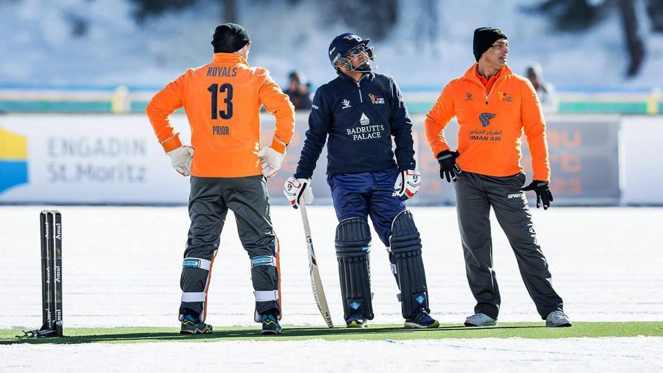 Virender Sehwag (C), captaining the Palace Diamonds team, in action St Moritz Ice Cricket 2018, in Switzerland.