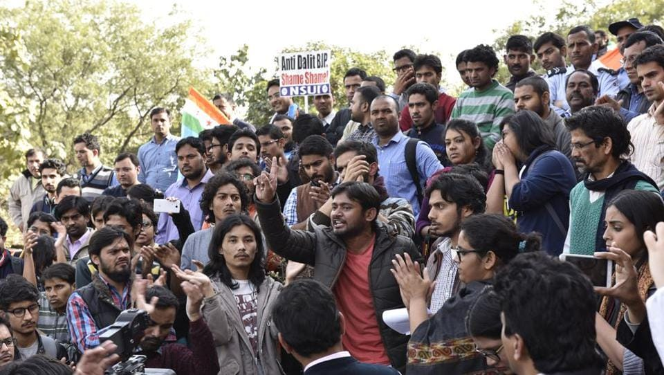 Former JNUSU president Kanhaiya Kumar (C) protests at the JNU campus, New Delhi on February 11, 2016. Ever since the events of February 9, 2016, when some people allegedly raised anti-national slogans during a march to commemorate the hanging of parliament attack convict Afzal Guru, the university has been making headlines. Once known as country's premier nursery, JNU has now become a centre of the Left versus Right debate with a row of issues dividing it campus. (Sanjeev Verma / HT Archive)