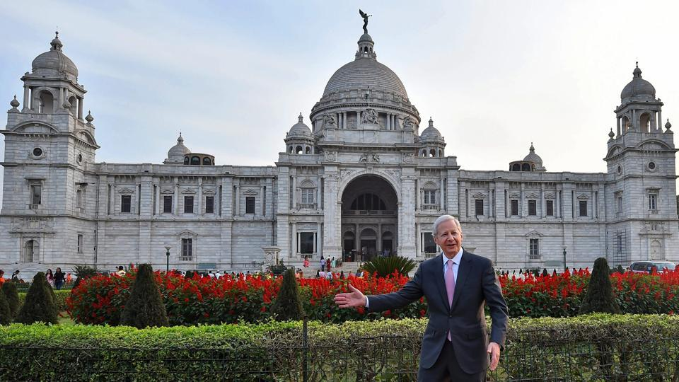 US ambassador to India, Kenneth Juster, gestures during his visit to Victoria Memorial in Kolkata on February 7, 2018. (Swapan Mahapatra / PTI)