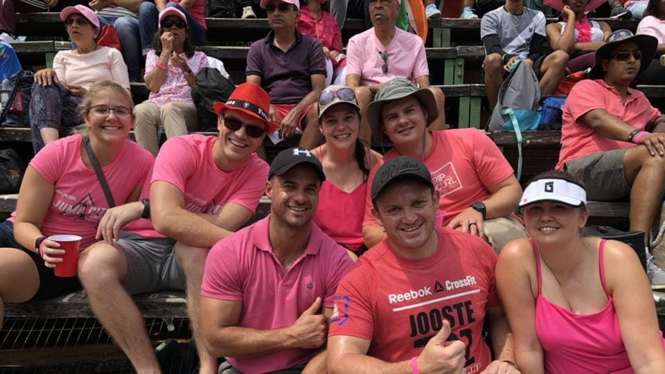 Fans and players alike deck themselves out in pink in a bid to spread awareness on breast cancer, supporting the 'PinkDrive' campaign.  (Twitter: @OfficialCSA)