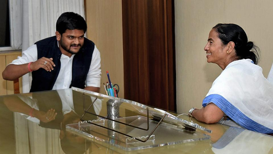 Patidar community leader Hardik Patel meets West Bengal chief minister Mamata Banerjee at Nabanna(State Secretariat) in Kolkata.