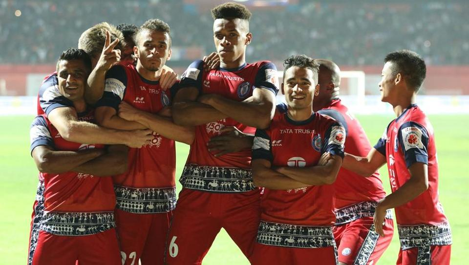 Goal celebration by Jamshedpur FC players during an Indian Super League match against NorthEast United FC at the JRD Tata Sports Complex in Jamshedpur onSaturday.