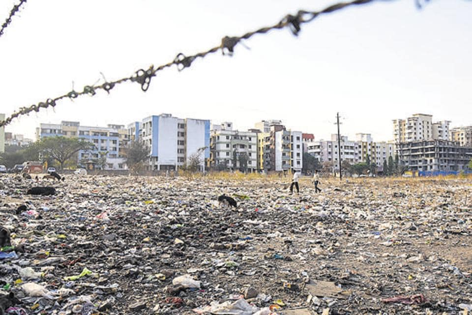 People dumped garbage in an open space making life difficult for people living nearby in Bavdhan in Pune.