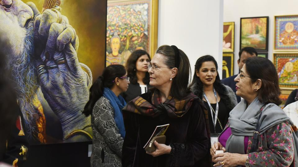 UPA chairperson and Senior congress Leader Sonia Gandhi visits the India Art Fair 2018 at Okhla NSIC ground, on February 09, 2018 in New Delhi. From the masterstrokes of art legends to contemporary installations, the 10th India Art Fair (IAF) began Friday, a heaven for connoisseurs, exhibitors and art lovers. (Raj K Raj / HT Photo)