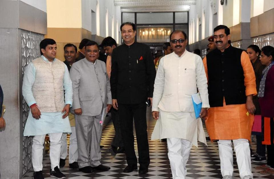 Senior BJP leaders at the Vidhan Nhawan ahead of the house session in Lucknow.
