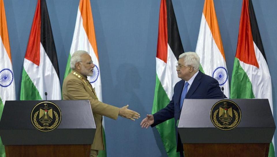 Narendra Modi,Modi in Palestine,Mahmoud Abbas
