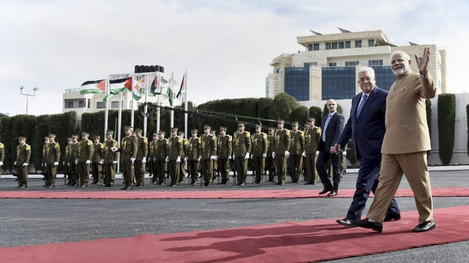Prime Minister Narendra Modi and Palestinian President Mahmoud Abbas accord a ceremonial guard of honour at Al-Muqata'a, the compound of the presidential headquarters in Ramallah on February 10, 2018. Modi became the first Indian PM to visit Palestine as part of a four-nation middle east visit.  (PTI)