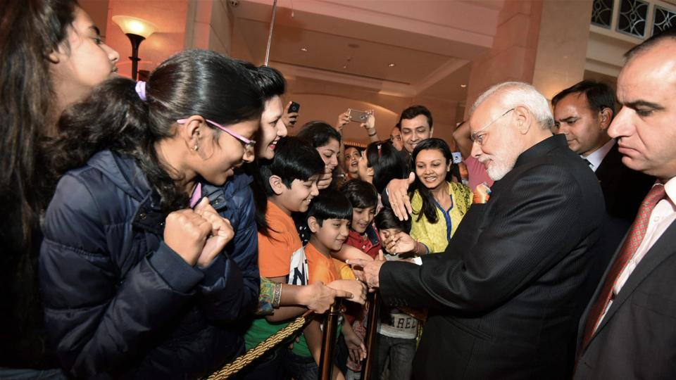 Prime Minister Modi is welcomed by members of the Indian community, in Amman, Jordan. Talks focused on coordination and consultation between the two countries in various fields, as the King highlighted the key role played by India in promoting security, stability and fighting terrorism. (PTI)