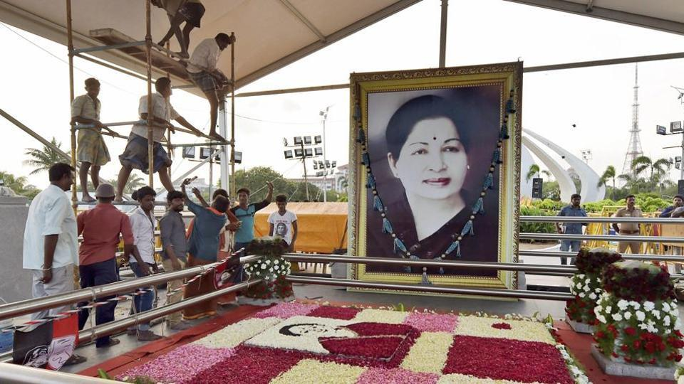 The burial place of late Tamil Nadu CM J Jayalalithaa in Chennai.