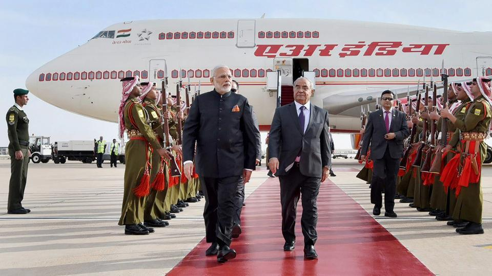 "Prime Minister Narendra Modi is received by the Jordan Prime Minister Hani Al-Mulki, on his arrival, at Queen Alia International Airport, in Amman, Jordan on February 09, 2018. On Friday, Modi met Jordan's King Abdullah II and said he had a ""wonderful"" meeting that would further boost India-Jordan ties. (PTI)"