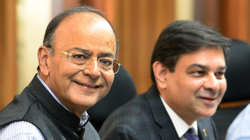 Finance minister Arun Jaitley and Reserve Bank of India governor Urjit Patel at the Central Board Meeting in New Delhi on Saturday.