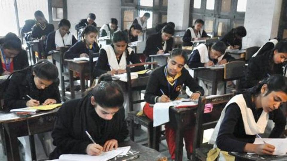 Students appear in the 12th class examination of Uttar Pradesh Board at an examination centre in Moradabad on February 6.