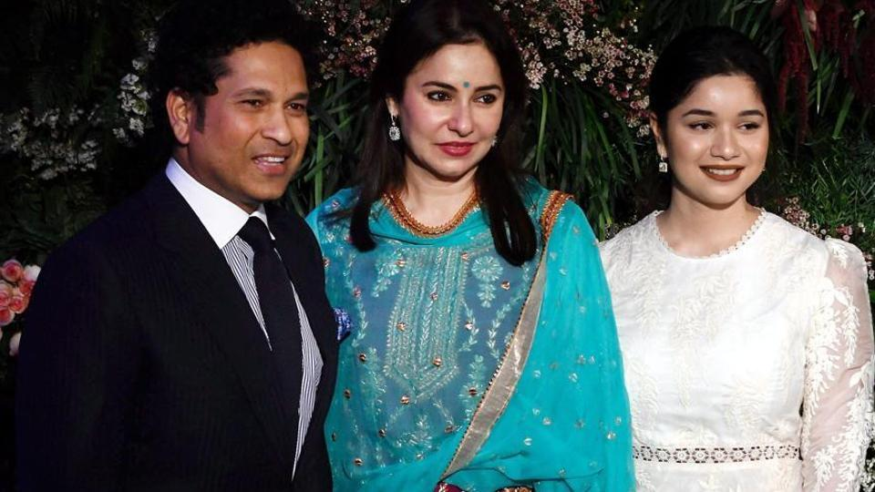 (File picture) Sachin Tendulkar along with his wife Anjali and daughter Sara Tendulkar (extreme right)