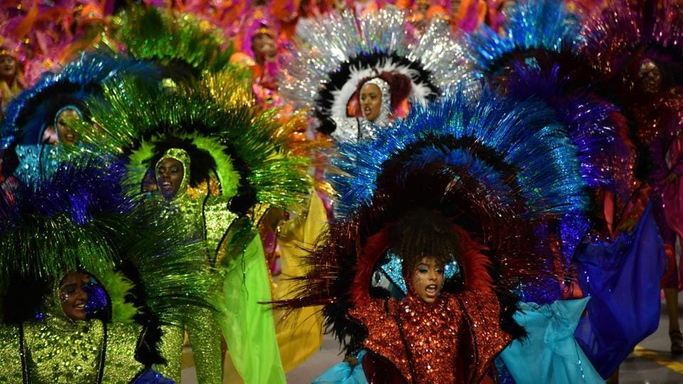 Revellers of the Vai-Vai samba school perform during the second night of carnival in Sao Paulo, Brazil.