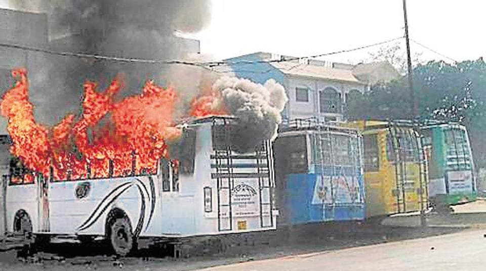 A group of people set a bus on fire after a young man was killed during the Tiranga bike rally, in Kasganj, Uttar Pradesh, last month.