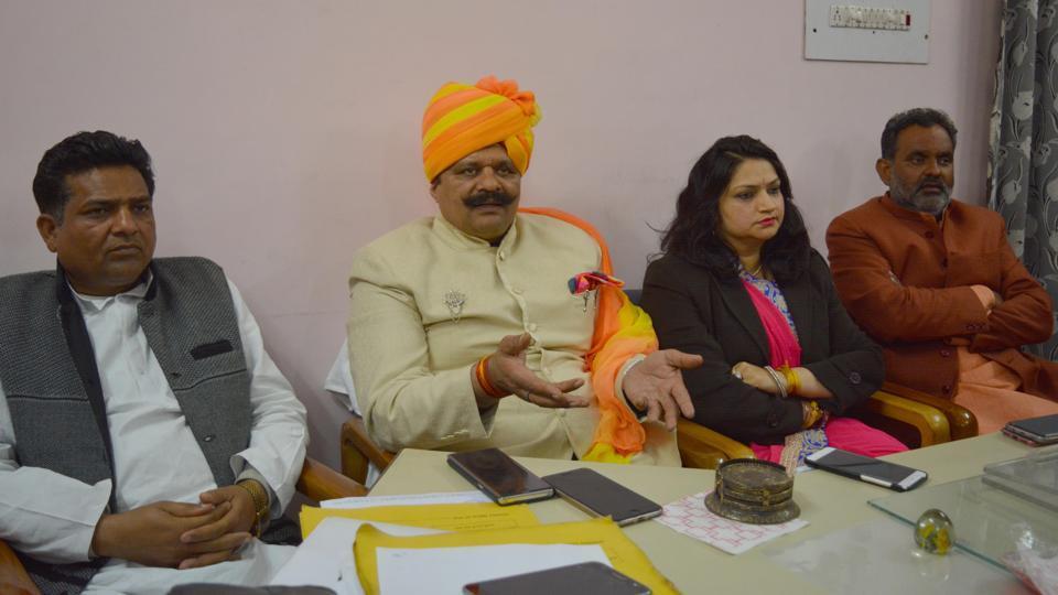 BJP legislator Kunwar Pranav Champion (in turban) recently in Haridwar.
