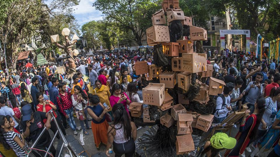 Visitors check out the installations on the final day of the Hindustan Times Kala Ghoda Arts Festival, 2018.