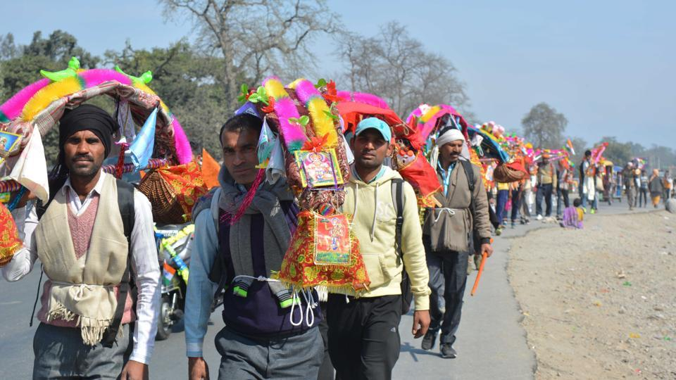 Kanwar pilgrims in Haridwar on Sunday.