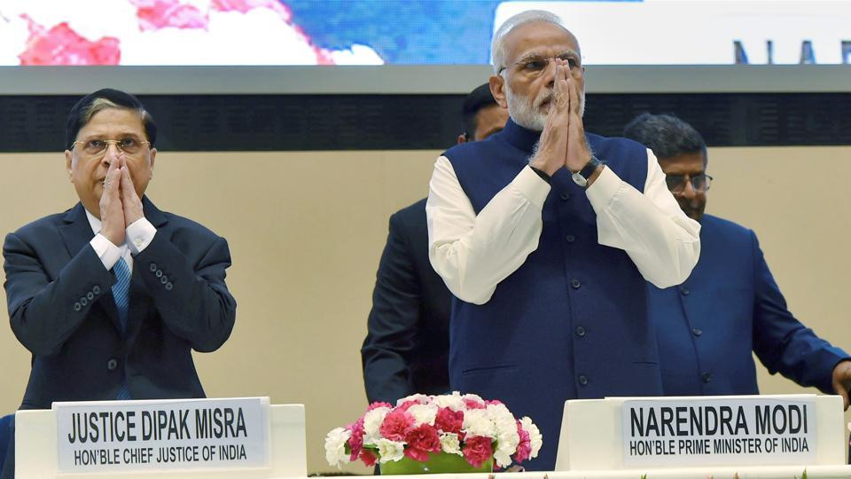 Prime Minister Narendra Modi with Chief Justice of India, Justice Dipak Misra.
