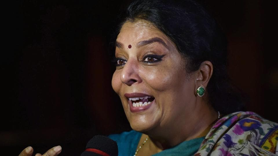 Congress leader Renuka Chowdhury during the Budget Session at Parliament House in New Delhi on February 7.