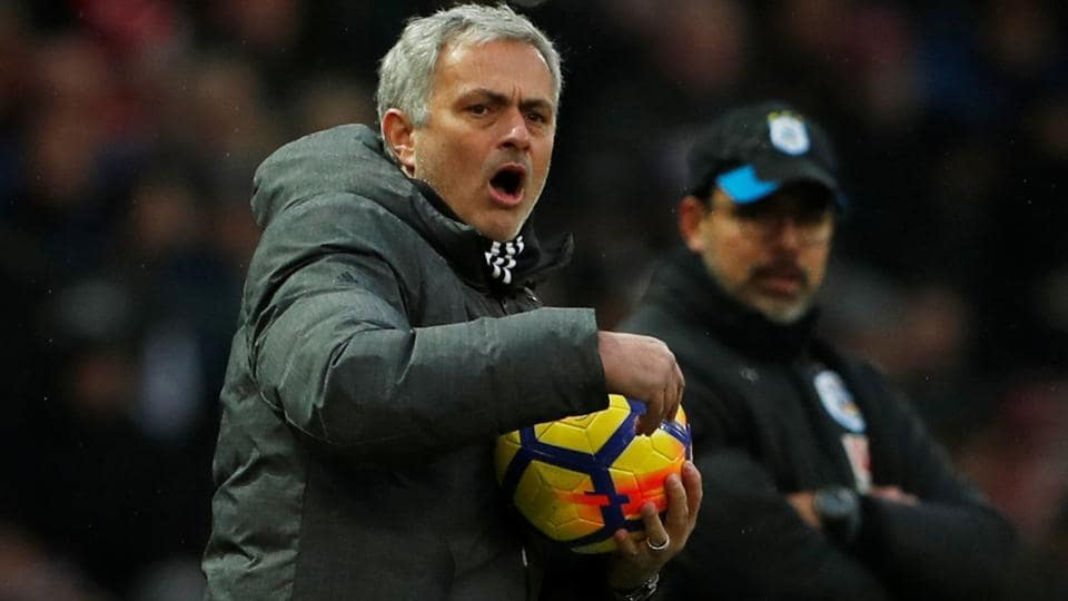 Jose Mourinho reacts during Manchester United's Premier League match against Huddersfield United.