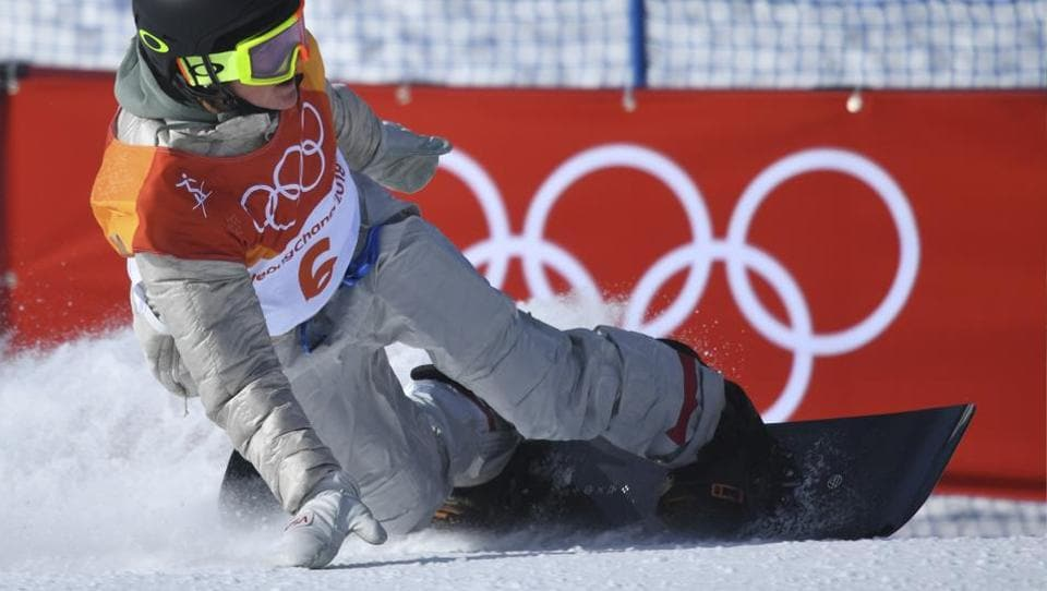 Redmond Gerard of the US during his final run of the men's slopestyle snowboarding Finals at the Pyeongchang Winter Olympics on Sunday.