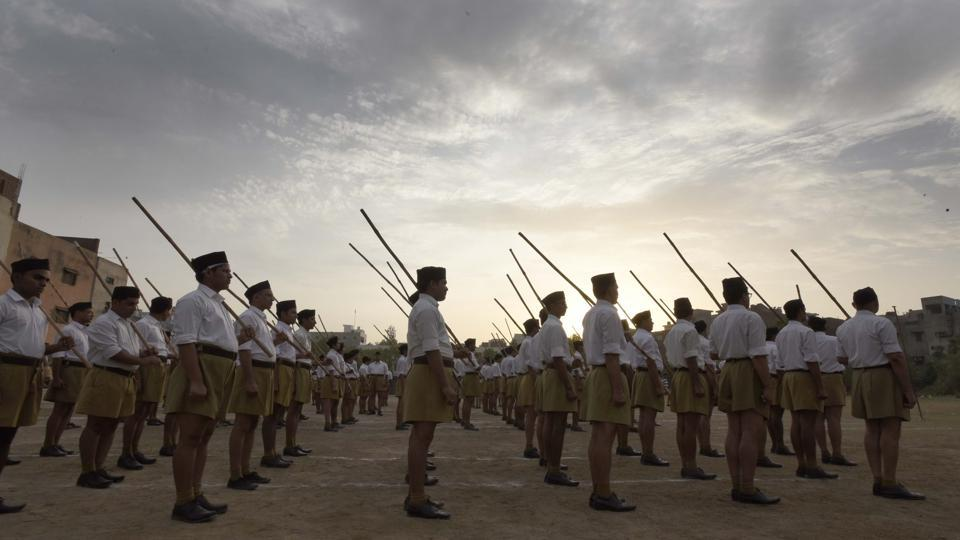 Volunteer of Rashtriya Swayamsevak Sangh ( RSS) Parade ( March) after attending a RSS Volunteer Training Camp at Gandhi Nagar in East Delhi, India.