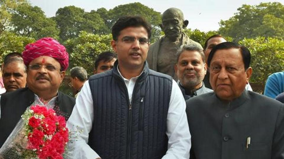 Rajasthan Congress president Sachin Pilot with newly elected party MPs Karan Singh Yadav and Raghu Sharma at Parliament House in New Delhi.