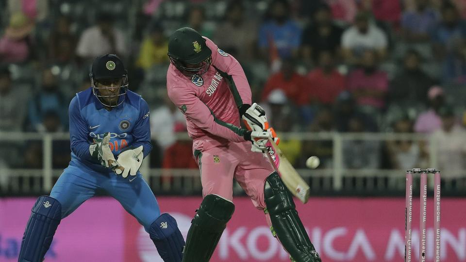 South Africa's batsman Heinrich Klaasen, right, plays a shot as India's wicketkeeper MS Dhoni, watches during the fourth One-Day International cricket match between South Africa and India at the Wanderers stadium in Johannesburg on Saturday.
